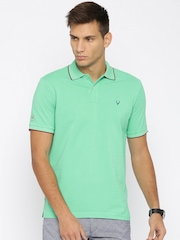 Allen Solly Men Green Solid Polo T-shirt