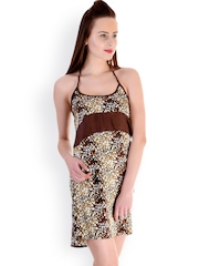Claura Coffee Brown Floral Print Baby-Doll TR-13