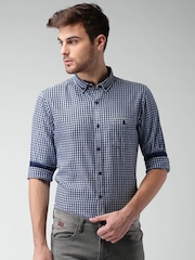 Mast & Harbour Blue & White Checked Casual Shirt
