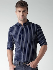 Mast & Harbour Navy & White Striped Casual Shirt