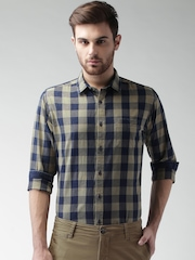 Mast & Harbour Beige & Navy Checked Smart Casual Shirt