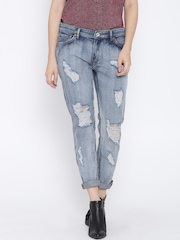 MANGO Blue Washed Distressed Relaxed Fit Jeans