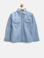 MANGO Kids Boys Blue Denim Shirt