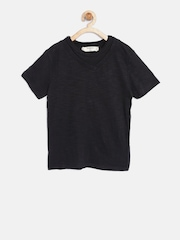 Mango Kids Boys Black Solid Round Neck T-shirt