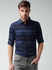 Mast & Harbour Navy Striped Casual Shirt