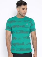 Adidas Green Printed Performance T-shirt