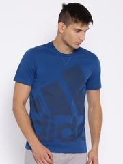 Adidas Blue Printed Training T-shirt
