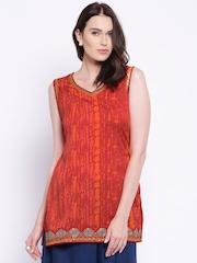 Anouk Red & Orange Polyester Leheriya Print Kurti