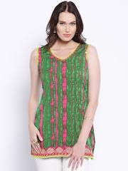 Anouk Green Polyester Leheriya Print Kurti