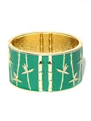 Anouk Green & Gold-Toned Textured Cuff Bracelet