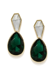 Anouk Gold-Toned & Green Stone-Studded Drop Earrings