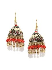 Anouk Gold-Toned & Red Beaded Jhumka Earrings