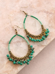 Anouk Green & Antique Gold-Toned Drop Earrings