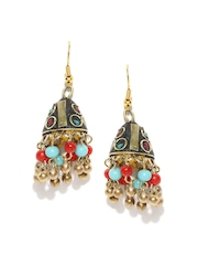 Anouk Gold-Toned & Red Beaded Jhumka Earrings