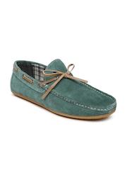 Carlton London Men Teal Green Suede Boat Shoes
