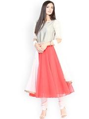 Shakumbhari Pink & Silver-Toned Churidar Kurta with Dupatta