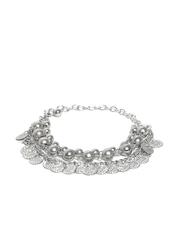 DressBerry Silver-Toned Multistranded Beaded Bracelet