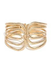 DressBerry Gold-Toned Cut-Out Hinged Cuff Bracelet