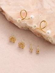 DressBerry Set of 3 Gold-Toned Stud Earrings