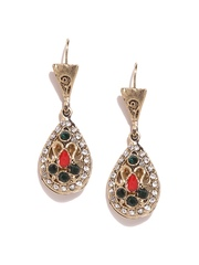 DressBerry Gold-Toned & Green Stone-Studded Drop Earrings