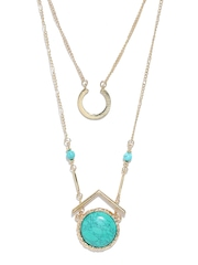 DressBerry Gold-Toned & Sea Green Layered Beaded Necklace