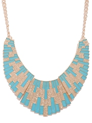 DressBerry Gold-Toned & Blue Statement Necklace
