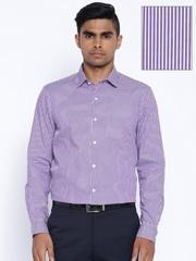Arrow Purple & White Striped Slim Fit Formal Shirt