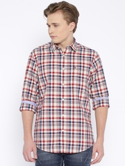 Arrow Sport Cream-Coloured & Red Checked Hudson Fit Casual Shirt