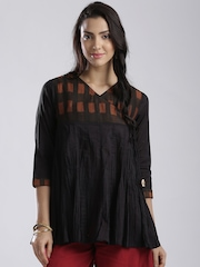Fabindia Black Silk Cotton Printed Crinkled Angarakha A-Line Kurti