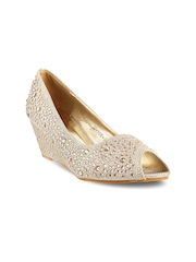Mochi Women Gold-Toned Wedges