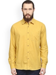 Turtle Yellow Printed Slim Fit Casual Shirt