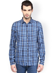 Turtle Blue Checked Slim Fit Casual Shirt