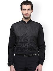 Turtle Black Printed Formal Shirt