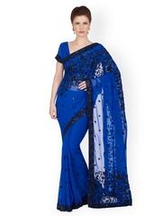 Designersareez Blue Georgette Embellished Saree