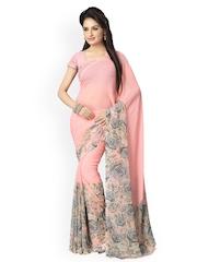 Vaamsi Pink Chiffon Floral Print Saree
