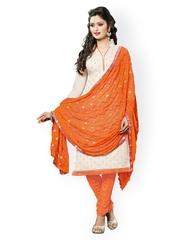 Satrani White & Orange Chanderi Unstitched Dress Material