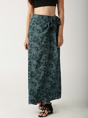 All About You from Deepika Padukone Teal Green Printed Wrap-Around Skirt
