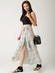 All About You from Deepika Padukone Off-White & Grey Wrap-Around Skirt