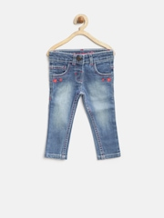 Baby League Girls Blue Washed Floral Embroidered Jeans