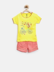 Baby League Girls Yellow & Coral Pink Printed Clothing Set