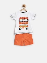Baby League Boys White & Orange Printed Clothing Set