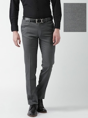 INVICTUS Charcoal Grey Slim Fit Formal Trousers