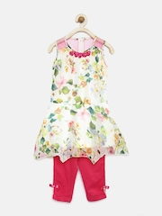 Tiny Girl Off-White & Pink Floral Print Clothing Set