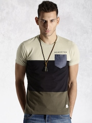 Roadster Black & Olive Green Colourblock T-shirt