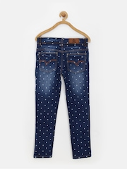 UFO Girls Blue Star Print Skinny Jeans