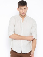 Indian Terrain Beige Slim Linen Casual Shirt