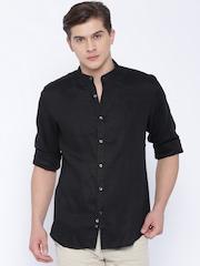 Indian Terrain Black Linen Slim Fit Casual Shirt
