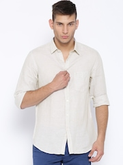 Indian Terrain Beige Linen Slim Casual Shirt
