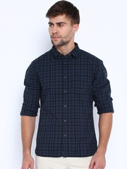 Indian Terrain Navy Checked Chiseled Fit Casual Shirt
