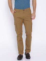 Indian Terrain Brown Slim Cargo Fit Trousers